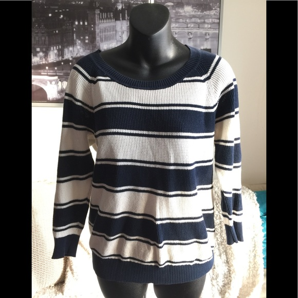 Madewell White & Navy Cotton Knitted Sweater